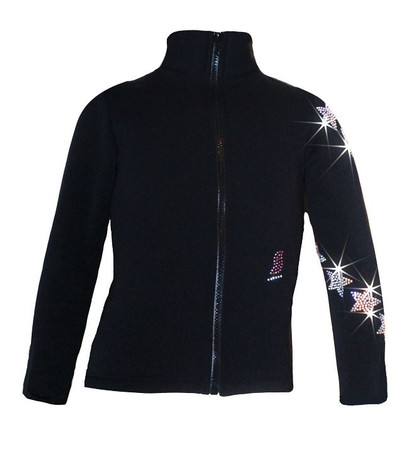 "Ice Skating Jacket with ""Spiral Stars"" Rhinestones Design"