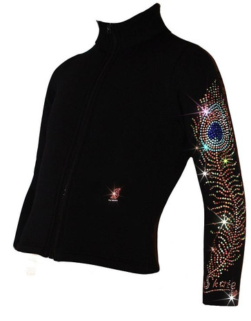 "Ice Skating Jacket with ""Charming Peacock Feather"" Design"