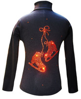 "Black Ice Skating Jacket with Orange ""Pair of skates"" Rhinestones Design"