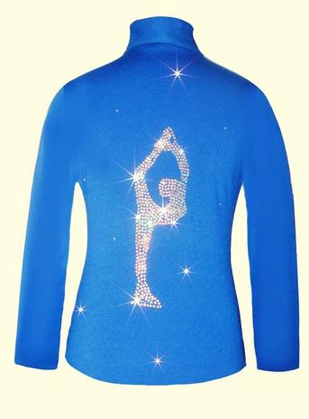 "Blue figure skating jacket with ""Biellmann"" applique"