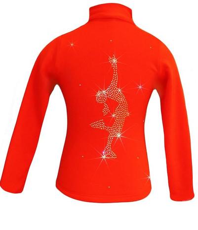 """Orange Ice Skating Jacket with """"Layback"""" Rhinestone Design"""