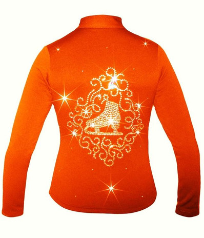 """Orange Ice Skating Jacket with """"Skate with Ornament"""" applique"""