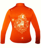 "Orange Ice Skating Jacket with ""Skate with Ornament"" applique"