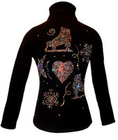 "Figure Skating Jacket with "" Multi Colors Skating Designs"" rhinestone applique"