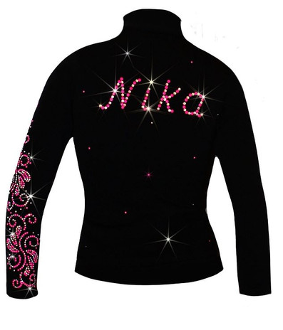 """Personalized Ice Skating Jacket with Pink """"Neon Swirls"""" Applique"""