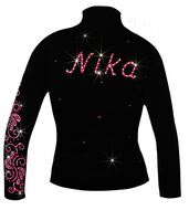 "Personalized Ice Skating Jacket with Pink ""Neon Swirls"" Applique"