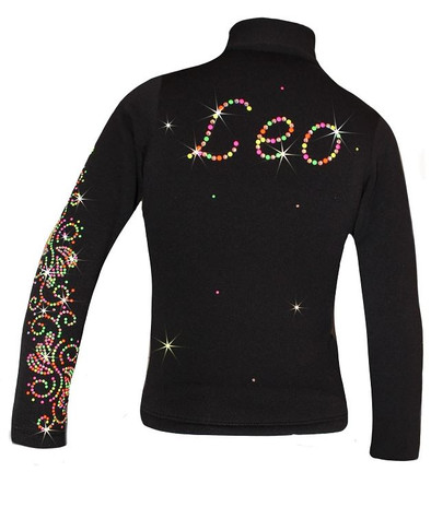 "Personalized Ice Skating Jacket with ""Neon Swirls"" Applique"