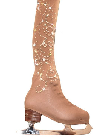 Girls/Women Over the Boot Ice Skating Tights with Rhinestone Design