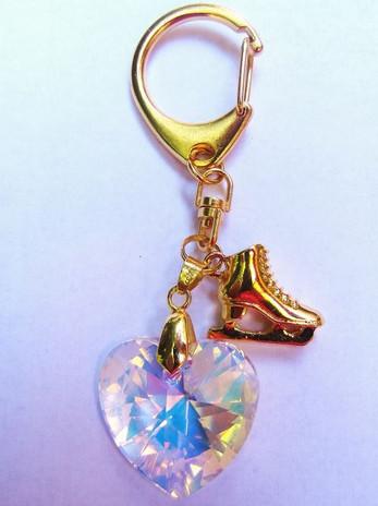 Key chain with Skate charm and Swarovski Heart