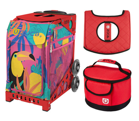 Zuca Sport Bag - Toucan Dream with Gift Seat Cover and Lunchbox (Red Frame)