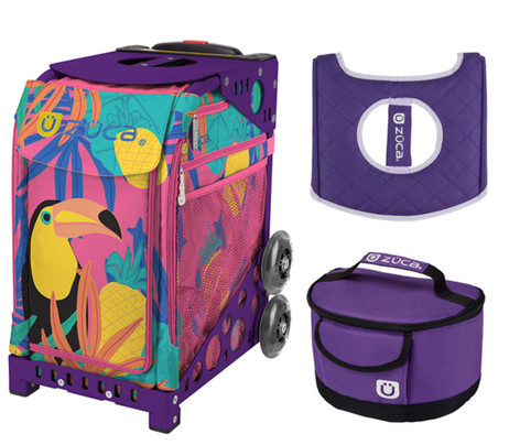 Zuca Sport Bag - Toucan Dream with Gift Seat Cover and Lunchbox (Purple Frame)
