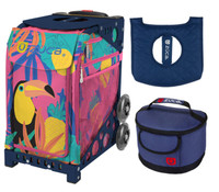 Zuca Sport Bag - Toucan Dream with Gift Seat Cover and Lunchbox (Navy Frame)