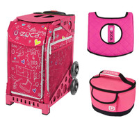 Zuca Sport Bag - Sk8 Pink with Gift Hot Pink/Black Seat Cover and Pink Lunchbox( Pink Frame)