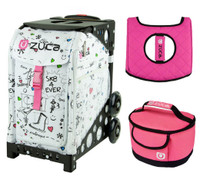Zuca Sport Bag - Sk8  with Gift Hot Pink/Black Seat Cover and Pink Lunchbox( Black Frame)