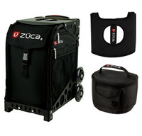 Zuca Sport Bag - Obsidian  with Gift Hot Pink/Black Seat Cover and Black Lunchbox( Black Frame)