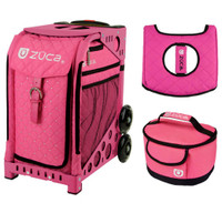 Zuca Sport Bag - Pink Hot  with Gift Hot Pink/Black Seat Cover and Pink Lunchbox( Pink Frame)