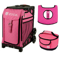 Zuca Sport Bag - Pink Hot  with Gift Hot Pink/Black Seat Cover and Pink Lunchbox( Black Frame)