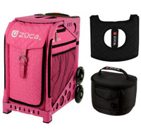 Zuca Sport Bag - Pink Hot  with Gift Hot Pink/Black Seat Cover and Black Lunchbox( Pink Frame)