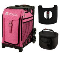 Zuca Sport Bag - Pink hot  with Gift Hot Pink/Black Seat Cover and Black Lunchbox( Black Frame)