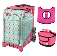 Zuca Sport Bag - Chevron with Gift Hot Pink/Black Seat Cover and Pink Lunchbox