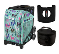 Zuca Sport Bag - Llama Rama  with Gift Hot Pink/Black Seat Cover and Black Lunchbox( Black Frame)