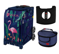 Zuca Sport Bag - Flamingo  with Gift Hot Pink/Black Seat Cover and Midnight Lunchbox( Navy Frame)
