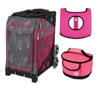 Zuca Sport Bag - Peace Now  with Gift Hot Pink/Black Seat Cover and Pink Luncbox( Black Frame)
