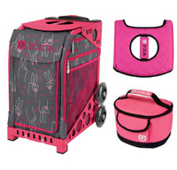 Zuca Sport Bag - Peace Now  with Gift Hot Pink/Black Seat Cover and Pink Lunchbox( Pink Frame)