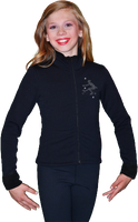 ChloeNoel Figure Skating Outfit - P11 Figure Skating Pants and J11 Solid Polar Fleece Fitted Figure Skating Jacket w/ Mini Sit Spin Crystals Combination