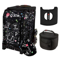 Zuca Sport Bag - SK8 Black  with Gift Black Seat Cover and Black Lunchbox( Black Frame)