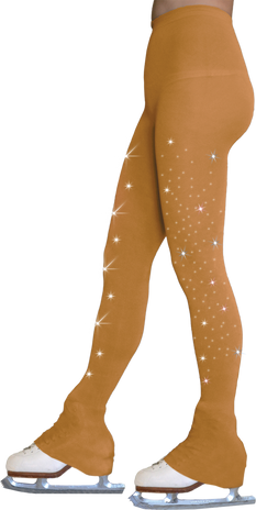 ChloeNoel Footless Ice Skating Tights 8896 w/ Crys. on 2 thighs