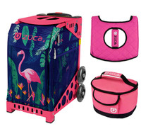Zuca Sport Bag - Flamingo with Gift Hot Pink/Black Seat Cover and Midnight Lunchbox( Pink Frame)