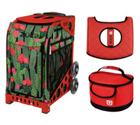 Zuca Sport Bag - Desert Blossom with Gift Red Seat Cover and Red Lunchbox