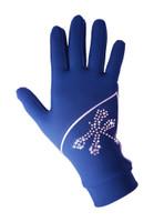 "Icedress - Thermal Figure Skating Gloves ""Shine"" (Cornflower with Rhinestones)"
