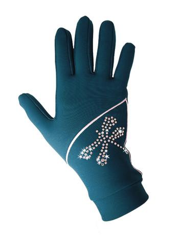 "Icedress - Thermal Figure Skating Gloves ""Shine"" (Emerald with Rhinestones )"