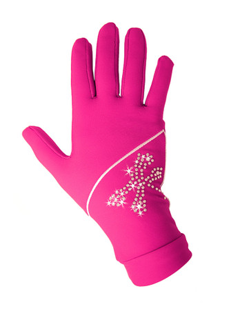 "Icedress - Thermal Figure Skating Gloves ""Shine"" (Fuchsia with Rhinestones )"