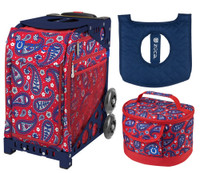 Zuca Sport Bag -Paisley in Red with Gift Lunchbox and Zuca Seat Cover (Navy Frame)