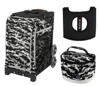 Zuca Sport Bag -NU Camo with Gift Lunchbox and Seat Cushion (Black Non- Flashing Wheels Frame)