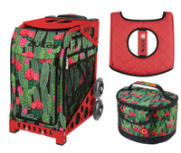 Zuca Sport Bag -Desert Blossoms with Gift Lunchbox and Zuca Seat Cover (Red Frame)