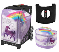 Zuca Sport Bag - Unicorn 2 with Gift Lunchbox and Zuca Seat Cover (Black Frame)