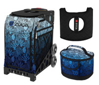 Zuca Sport Bag - Reef with Gift Lunchbox and Seat Cushion (Black Non- Flashing Wheels Frame)