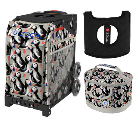 Zuca Sport Bag - Playful Puffins with Gift Lunchbox and Seat Cushion (Black Non- Flashing Wheels Frame)