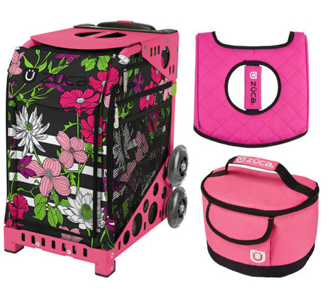 Zuca Sport Bag - Petals & Stripes with Gift Lunchbox and Zuca Seat Cover (Pink Frame)