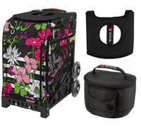 Zuca Sport Bag - Petals & Stripes with Gift Lunchbox and Zuca Seat Cover (Black frame)