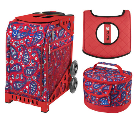 Zuca Sport Bag Paisley In Red With Gift Lunchbox And