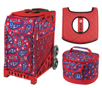 Zuca Sport Bag - Paisley in Red with Gift Lunchbox and Zuca Seat Cover (Red Frame)