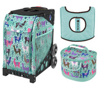 Zuca Sport Bag - Llama Rama with Gift Lunchbox and Zuca Seat Cover (Black Non- Flashing Wheels Frame)