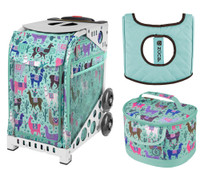 Zuca Sport Bag - Llama Rama with Gift Lunchbox and Zuca Seat Cover (White Frame)