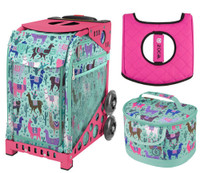 Zuca Sport Bag - Llama Rama with Gift Lunchbox and Zuca Seat Cover (Pink Frame)