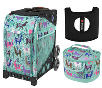 Zuca Sport Bag - Llama Rama with Free Lunchbox and Zuca Seat Cover  (Black Frame)